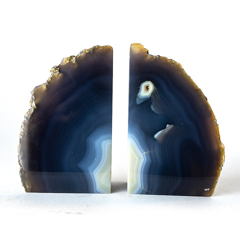 Navy Blue Natural Banded Agate Bookends (3 lbs) from Brazil