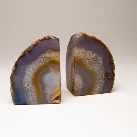 Grey with Natural Banded Agate Bookends from Brazil (2 lbs)