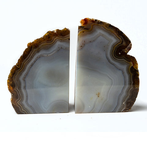 Natural Banded Agate Bookends (1 lb) from Brazil