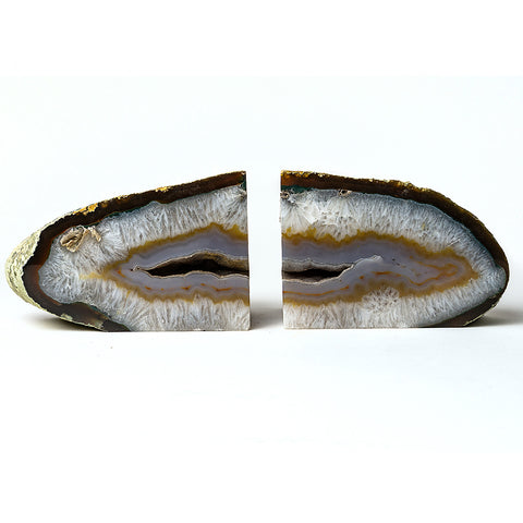 Natural Banded Agate Bookends (7.5 lbs) from Brazil