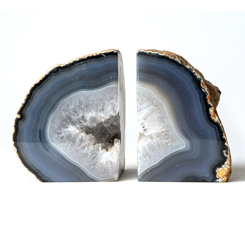 Blue and White Natural Banded Agate Bookends (3 lbs) from Brazil