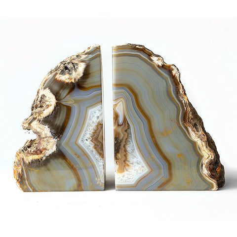 Natural Banded Agate Bookends (4.5 lbs) from Brazil