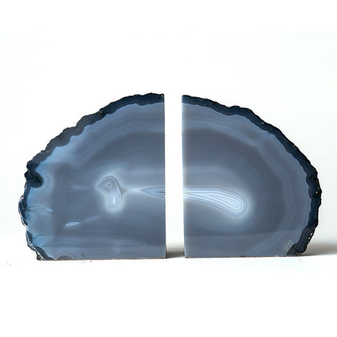 Sky Blue Natural Banded Agate Bookends (3 lbs) from Brazil