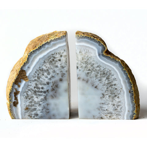 Quartz white Natural Banded Agate Bookends (3 lbs) from Brazil