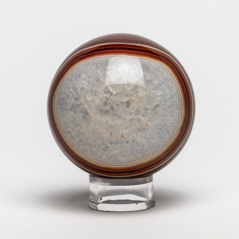 "Small Brown and White Agate Sphere (2.25"" Diameter, 265 grams)"