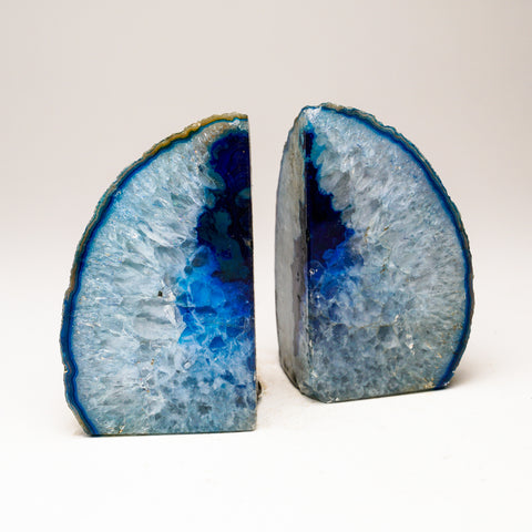 Aqua with Blue Banded Agate Bookends from Brazil (2 lbs)