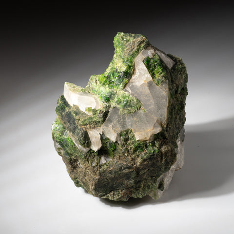 Chrome Diopside with Quartz from Pereval marble quarry, Slyudyanka, southern Lake Baikal region, Russia