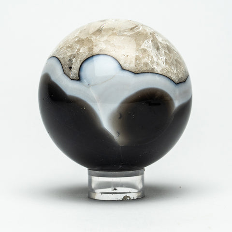"Black with White Agate Sphere (2.75"" Diameter, 436 Grams)"