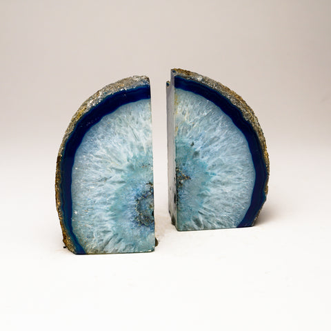 Teal Banded Agate Bookends from Brazil (2 lbs)