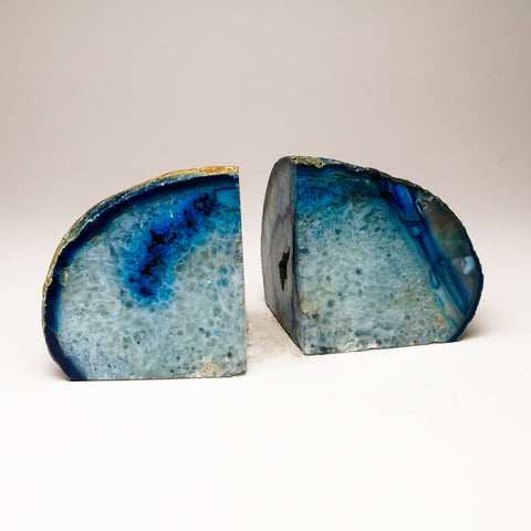 Blue and Aqua Banded Agate Bookends from Brazil (4 lbs)