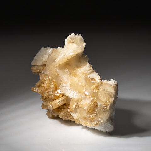 Golden Barite on calcite from Meikle Mine, Elko County, Nevada