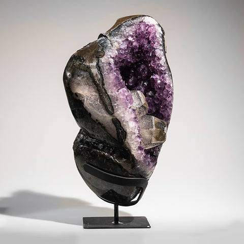 Calcite in Amethyst Cluster Geode on Stand from Uruguay (7.5 lbs)