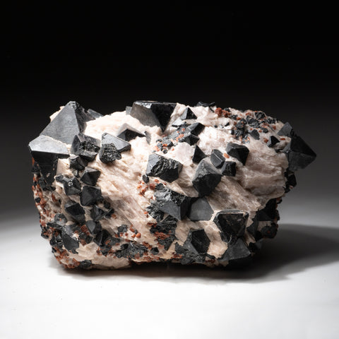 Franklinite on Calcite from Franklin Mining District, Sussex County, New Jersey