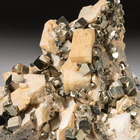 Pyrite with Albite from Huanzala Mine, Huallanca District, Huanuco Department, Peru