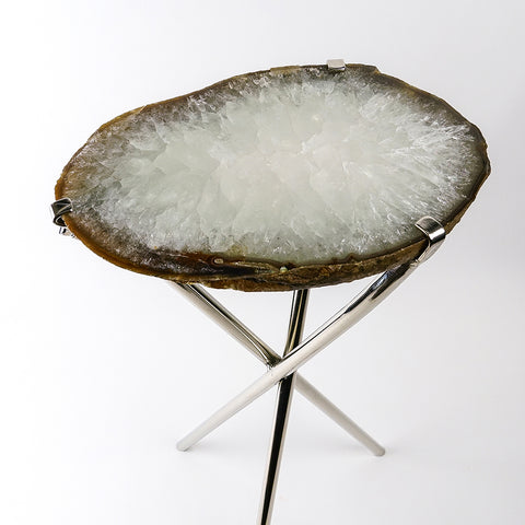 Natural Agate Side Table (8.5 lbs, 23.5'' tall)