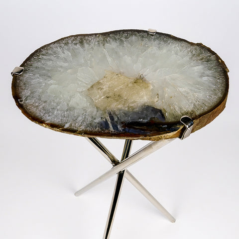 Natural Agate Side Table (9 lbs, 23'' tall)