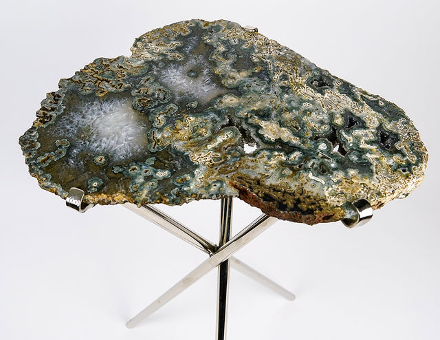 Natural Agate Side Table (9.5 lbs, 23.5'' tall)