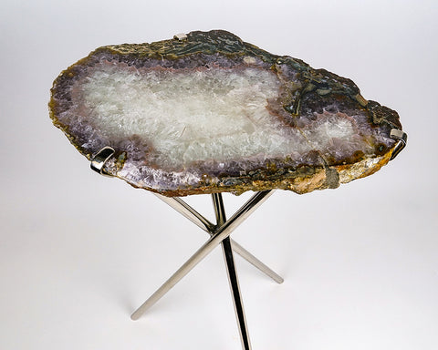 Natural Agate Side Table (11.5 lbs, 23.5'' tall)
