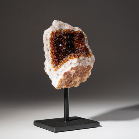 "Citrine Quartz Geode Cluster on Metal Stand (8"", 3.4 lbs)"