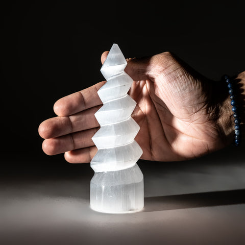 White Selenite Spiral Tower from Morocco (357.7 grams)