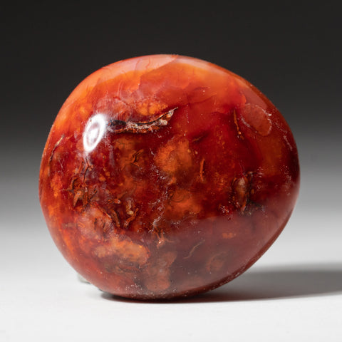 Polished Carnelian Palm Crystal From Brazil (117.7 grams)