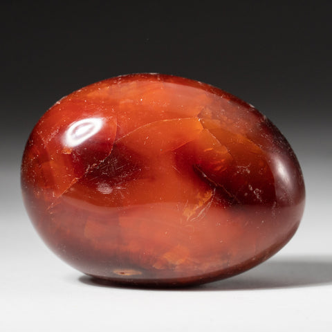 Polished Carnelian Palm Crystal From Brazil (129.3 grams)