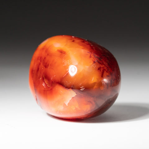 Polished Carnelian Palm Crystal From Brazil (153.9 grams)
