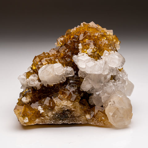 Calcite on Yellow Fluorite from Moscona Mine,Solis, Asturias, Spain