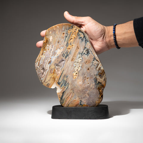 Polished Natural Agate Slice on Wooden Stand (4.2 lbs)