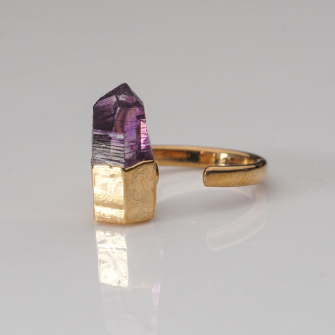 Amethyst Crystal Copper Adjustable Ring