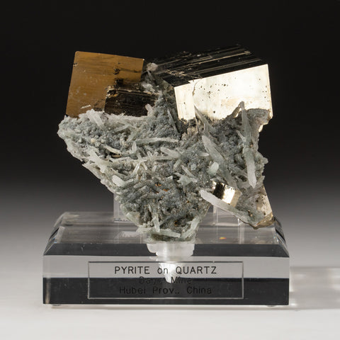 Pyrite on Quartz from Daye Mine, Hubei Province, China