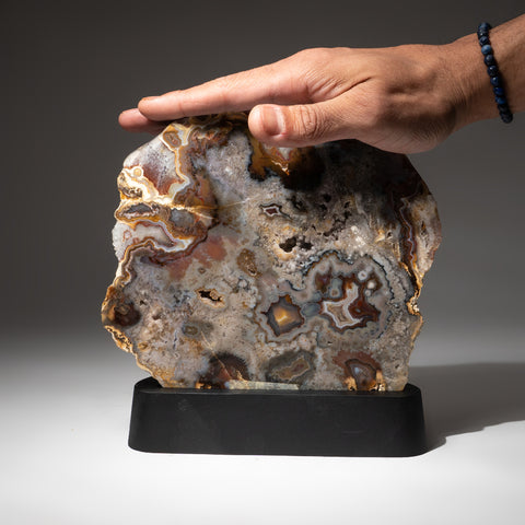 Polished Natural Agate Slice on Wooden Stand (4.8 lbs)