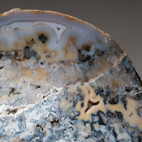 Polished Natural Agate Slice on Wooden Stand (18.2 lbs)