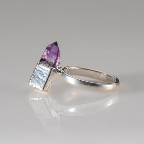 Amethyst Crystal  Adjustable Silver Ring