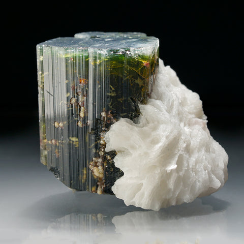 Green Tourmaline with Albite from Paprok, Nuristan, Afghanistan