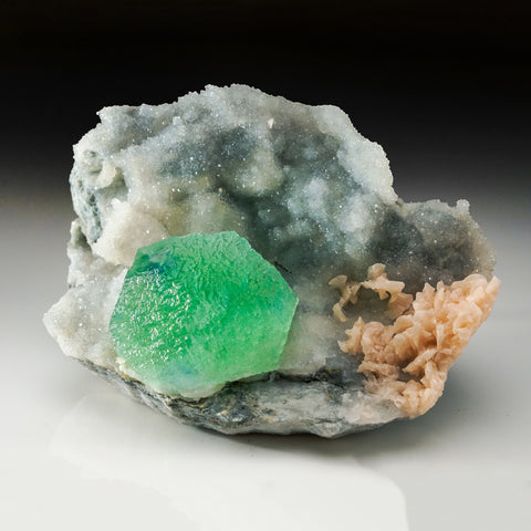 Green Fluorite on Quartz with Dolomite From Las Viesca, Asturias, Spain (2.5 lbs)