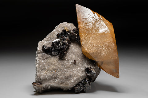 Golden Calcite with Sphalerite on Matrix from Elmwood Mine, Carthage, Smith County, Tennessee