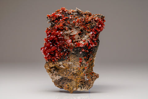 Vanadinite Crystal Cluster with Barite Matrix - From Mibladen, Atlas Mountains, Khénifra Province, Morocco