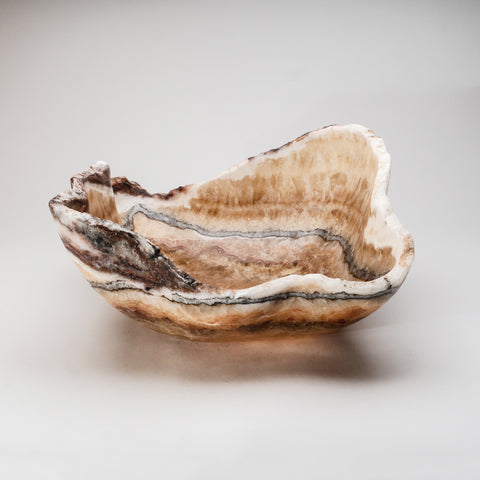 Large Natural Onyx Bowl From Mexico (23.5 lbs)
