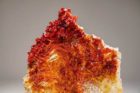 Vanadinite Crystal Cluster on Barite  - From Mibladen, Atlas Mountains, Khénifra Province, Morocco