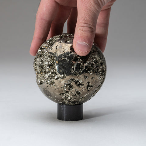 "Polished Pyrite Sphere from Peru (3.5"", 2.5 lbs)"