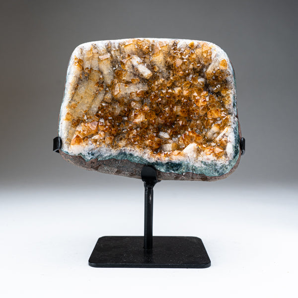 "Citrine Quartz Crystal Cluster on Metal Stand (9.5"", 5.5 lbs)"