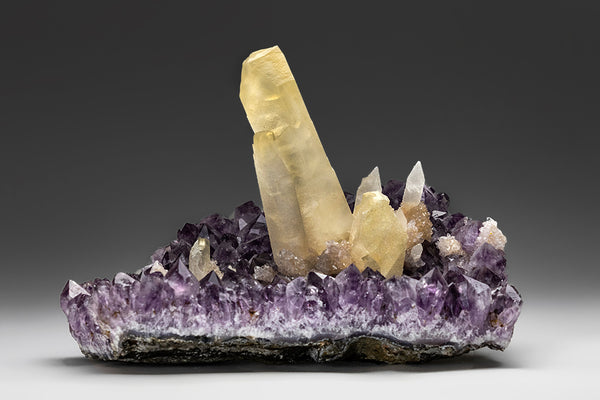Calcite Crystals on Amethyst from Catal Artigas, Uruguay