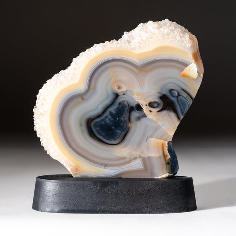Natural Agate Slice on Wooden Stand From Brazil (333 grams)