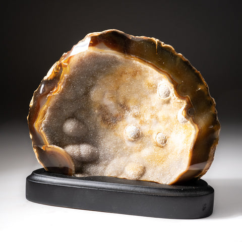 Polished Natural Agate Slice on Wooden Stand (4 lbs)