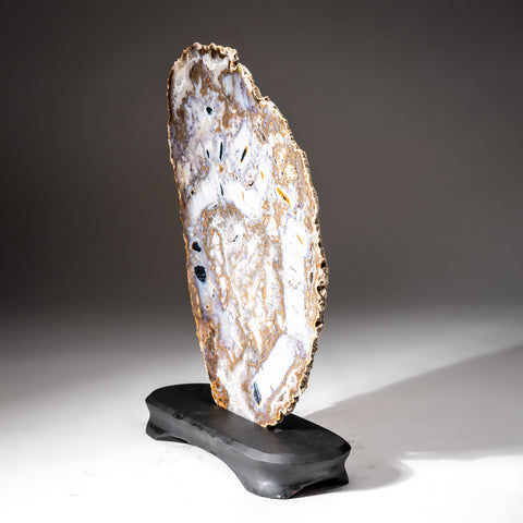 Polished Natural Agate Slice on Wooden Stand (2.4 lbs)