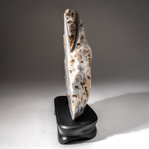 Polished Natural Agate Slice on Wooden Stand (11.4 lbs)
