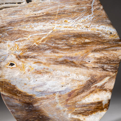 Polished Natural Agate Slice on Wooden Stand (4.6 lbs)