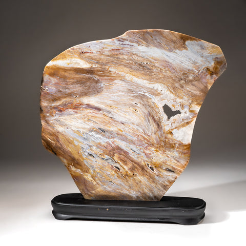 Polished Natural Agate Slice on Wooden Stand (7 lbs)