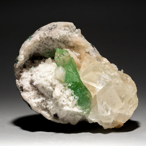 Green Apophyllite with Calcite on Matrix Apophyllite from Pashan Hill Quarry, Poona District, Maharashtra, India